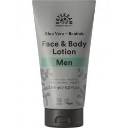Men gezicht en bodylotion